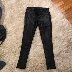 Aqua faux leather pants. Worn once!!